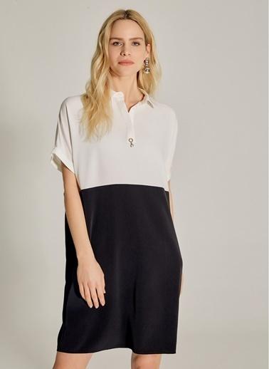 NGSTYLE Essentials - Oversize Renk Bloklu Elbise Siyah